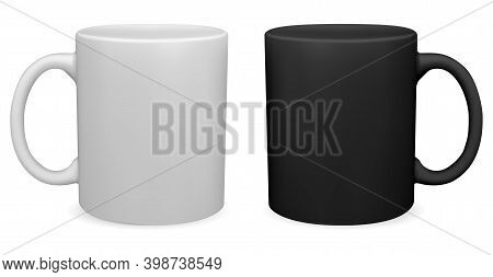 Black And White Coffee Mug. Tea Cup 3d Vector Blank. Teacup With Handle Mockup Design. Porcelain Mug