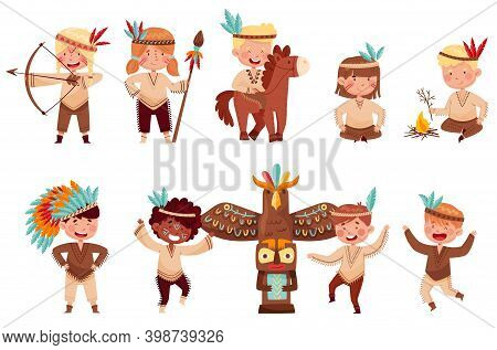 Kids In Native Indian Costumes And Feathered Headdresses Shooting Bow And Dancing Vector Set