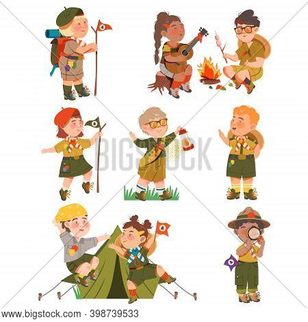 Boy And Girl Junior Scouts Wearing Khaki Shirt Sitting At Campfire And Walking With Gas Lamp Vector