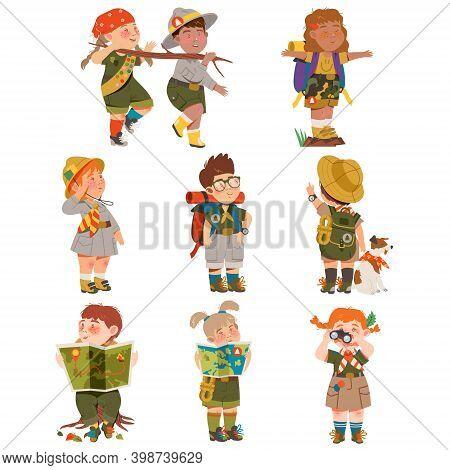 Boy And Girl Junior Scouts Wearing Khaki Shirt Examining Map And Looking In Binocular Vector Set