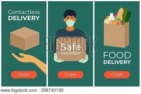 Set Of Banners For Safe Delivery Service. Advert Of Order Food Or Goods In Internet. Online Shop, Ec