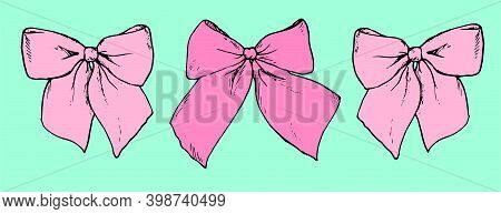 Pink Bows Of Different Shades On A Mint Background With A Black Outline For Invitations, Romance. Se