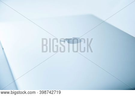 Belarus, Minsk - July 13, 2020: Apple Inc. Product Design Space Gray Macbook Pro. Photo With A Copy-
