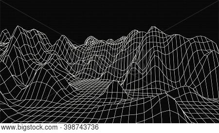Abstract Wireframe Landscape Design On Black Background. Technology Vector Grid. Curve Connection St