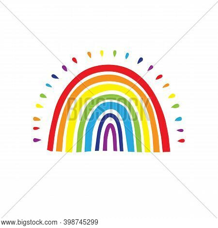 Rainbow Logo, Cute Hand Drawn Rainbow Icon. Vector Illustration