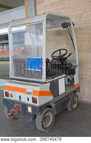 Electric Tug Tow Tractor Vehicle At Train Station Italy