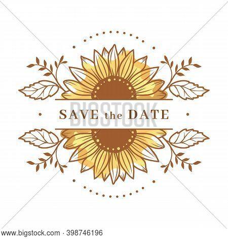 Sunflower Frame, Sunflower Split Monogram. Save The Date Wedding Card. Sunflower Floral Frame Clipar