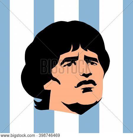 Lanus, Argentina - November 25, 2020. Footballer Diego Armando Maradona. Comic Book Cartoon Pop Art