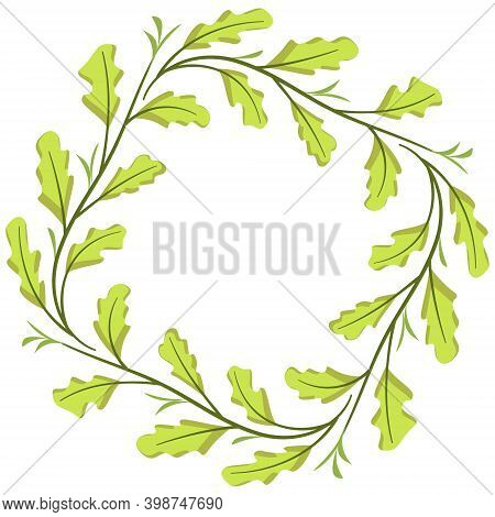 Foliate Frame With Oak Leaves For Greeting Cards, Invitations, Posters, Banners.