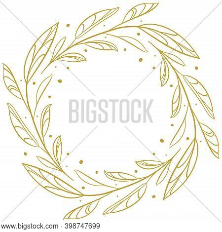 Foliate Decorative Frame With Gold Leaves For Greeting Cards, Invitations, Posters, Banners.