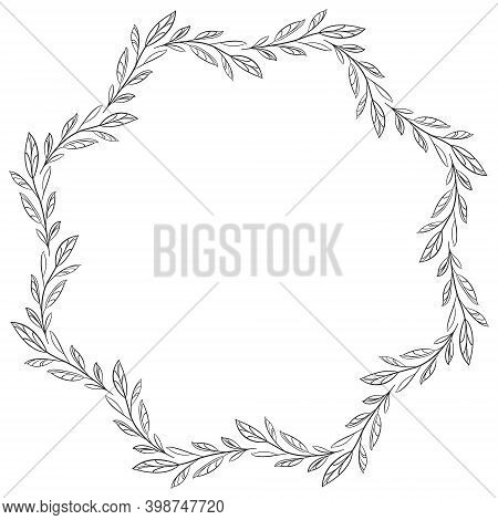 Foliate Wavy Frame With Black Leaves For Greeting Cards, Invitations, Posters, Banners.