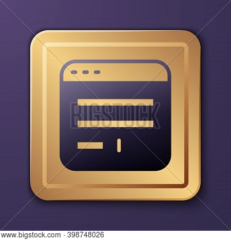 Purple Browser Window Icon Isolated On Purple Background. Gold Square Button. Vector