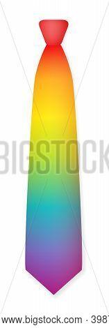 Rainbow Colored Tie. Gradient Color Spectrum Cravat. Isolated Vector Illustration On White Backgroun