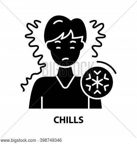 Chills Icon, Black Vector Sign With Editable Strokes, Concept Illustration