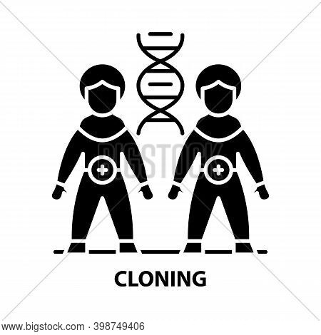 Cloning Icon, Black Vector Sign With Editable Strokes, Concept Illustration
