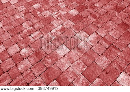 Stone Pavement Surface In Red Tone. Abstract Background And Texture For Design.