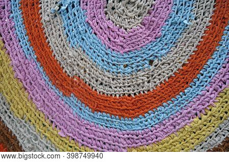 Handmade Colorful Carpet Made Of Old Rugs. Traditional Arts And Crafts.