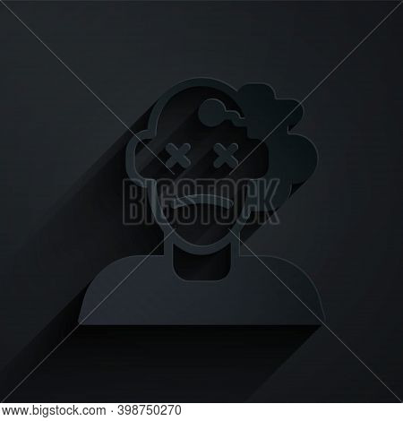 Paper Cut Murder Icon Isolated On Black Background. Body, Bleeding, Corpse, Bleeding Icon. Concept O
