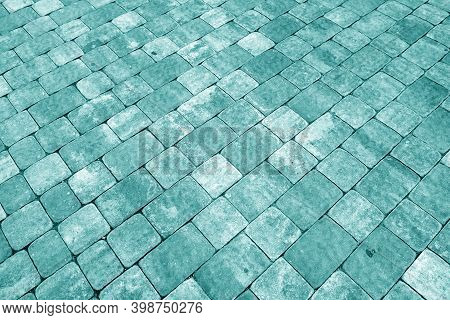 Stone Pavement Surface In Cyan Tone. Abstract Background And Texture For Design.