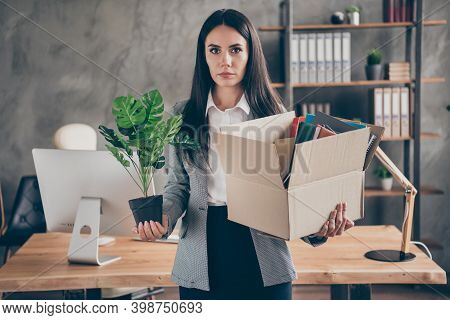 Photo Of Serious Chief Manager Lawyer Girl Have Company Crisis Bankrupt Hold Belongings Cardboard Bo