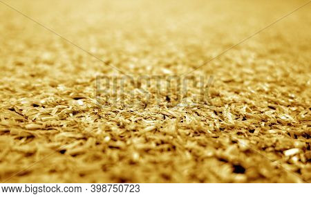Orange Color Artificial Grass Close-up With Blur Background. Texture And Backdrop