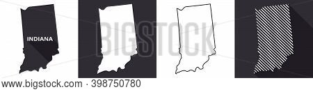 State Of Indiana. Map Of Indiana. United States Of America Indiana. State Maps. Vector Illustration