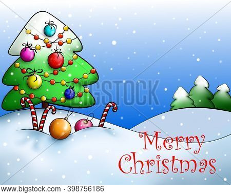 Congratulatory Christmas Card. Christmas Tree Decorated With Colorful Bright Balls And A Garland In