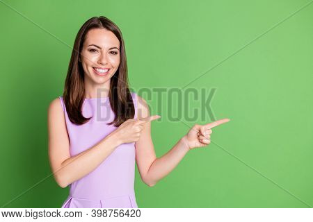 Photo Optimistic Pretty Girl Lady Beaming Smile Point Double Index Finger Empty Space Advice Product
