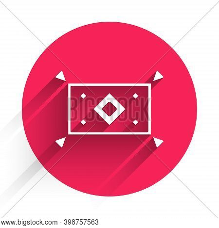 White Magic Carpet Icon Isolated With Long Shadow. Red Circle Button. Vector