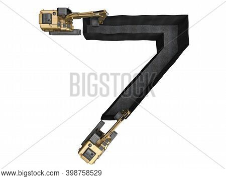 Digged Trench In The Shape Of A Number 7 Isolated On White. 3d Rendering