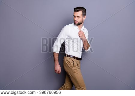Profile Side View Portrait Of His He Nice Attractive Content Successful Man Agent Broker Economist B
