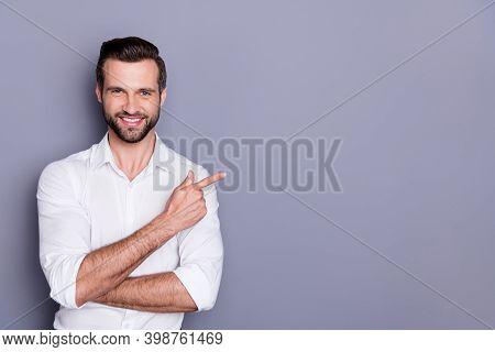 Portrait Of His He Nice Attractive Content Glad Cheerful Brunet Guy Employer Director Showing Advert