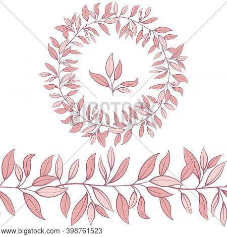 Foliate Seamless Brush, Border With Pink Leaves For Greeting Cards, Invitations, Posters, Banners.