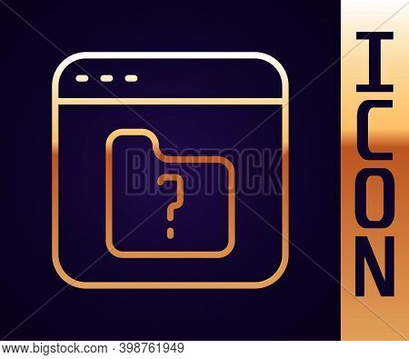 Gold Line File Missing Icon Isolated On Black Background. Vector