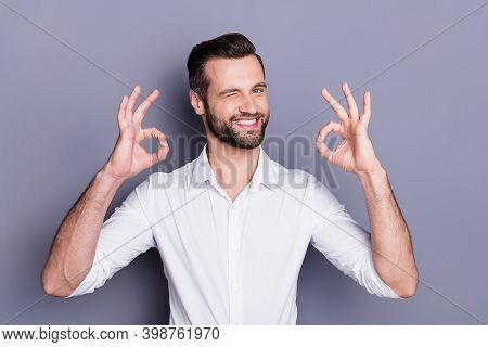 Portrait Of Positive Cheerful Confident Man Broker Economist Man Approve Ideal Advert Promotion Show