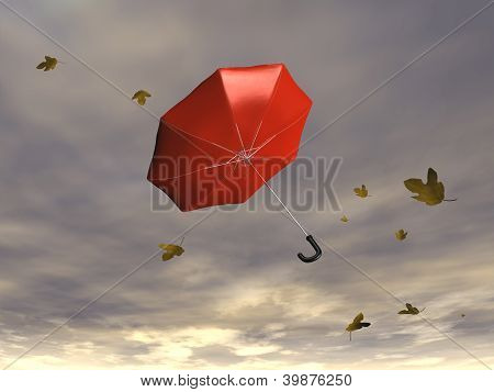 Umbrella blowing in the wind