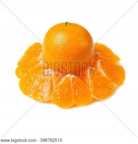 Ripe Tangerine And Slices Isolated On White Background