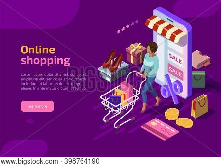 Isometric Online Shopping Concept On Violet Background, Woman With Shop Cart Buy Gifts In Marketplac