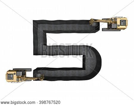 Digged Trench In The Shape Of A Number 5 Isolated On White. 3d Rendering