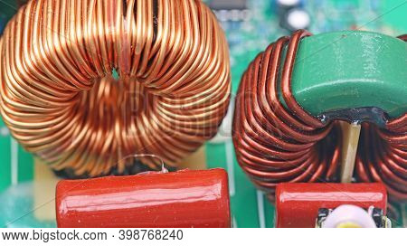 Copper Coil On A Circuit Board In Close Up