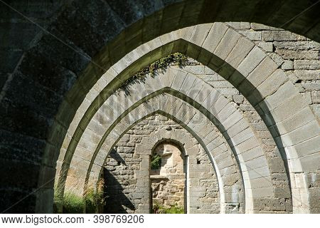 The Ruins Of The Old Cloister In Alvastra In Sweden During The Nice Summer Day. A Tourist Attraction