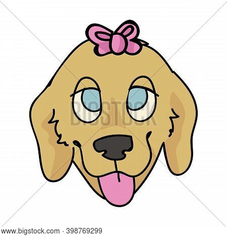 Cute Cartoon Golden Retriever Puppy Face With Cute Bow Breed Vector Clipart. Pedigree Kennel Doggie