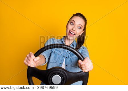 Photo Of Funny Girl Drive Car Hold Steering Wheel Impressed Fast Speed Wear Style Stylish Trendy Out