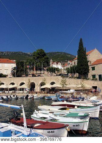 Beautiful Waterfront Panorama In Bol On The Island Brac In Croatia 25.8.2016