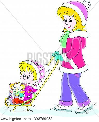 Young Cute Mom Sledding A Happy Little Daughter With A Funny Toy Elephant On A Winter Day, Vector Ca