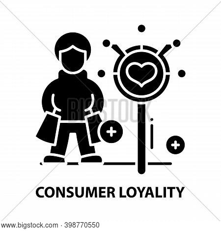 Consumer Loyality Icon, Black Vector Sign With Editable Strokes, Concept Illustration