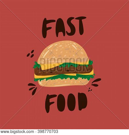 Vector Image Of A Hamburger. Cartoon American Food On The Run. Vector Hamburger Bun With Cutlet Sauc