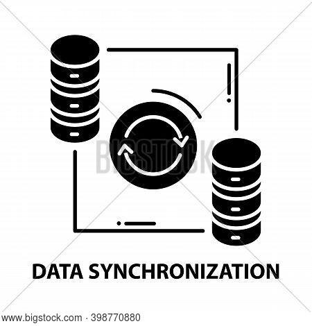Data Synchronization Symbol Icon, Black Vector Sign With Editable Strokes, Concept Illustration