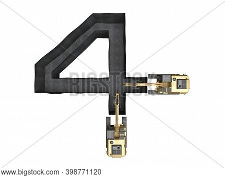 Digged Trench In The Shape Of A Number 4 Isolated On White. 3d Rendering