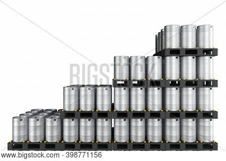 Wall Of Metal Kegs Compiled In Ascending Order. 3d Rendering
